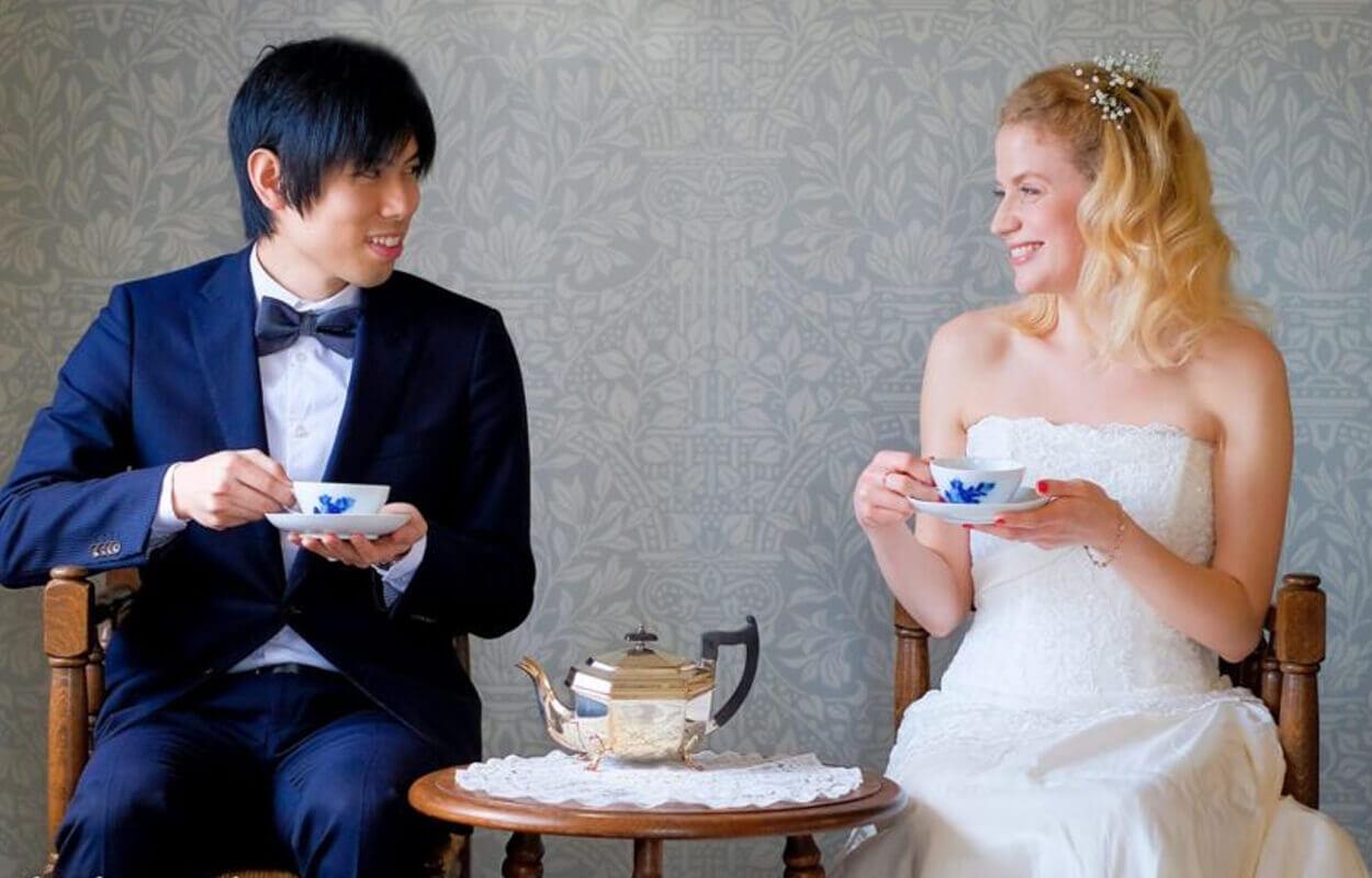 結婚式のウェディングフォトのティーセレモニー